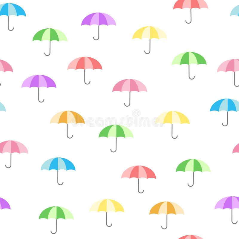 Cute colorful pattern with umbrellas - baby cartoon style vector illustration