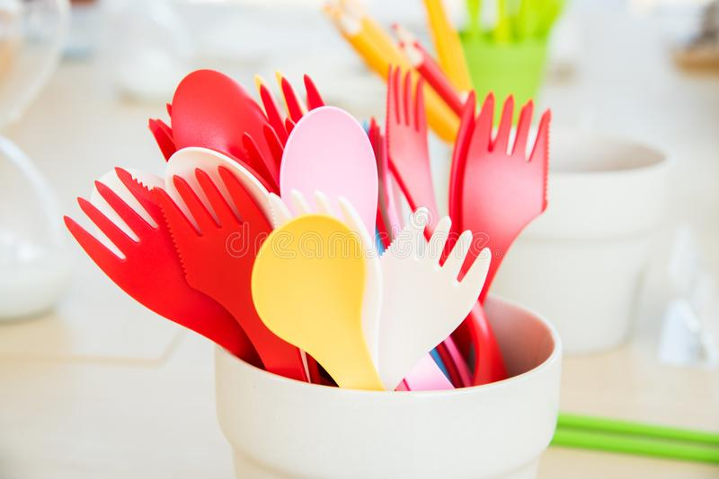 colorful plastic spoon and fork stock photos