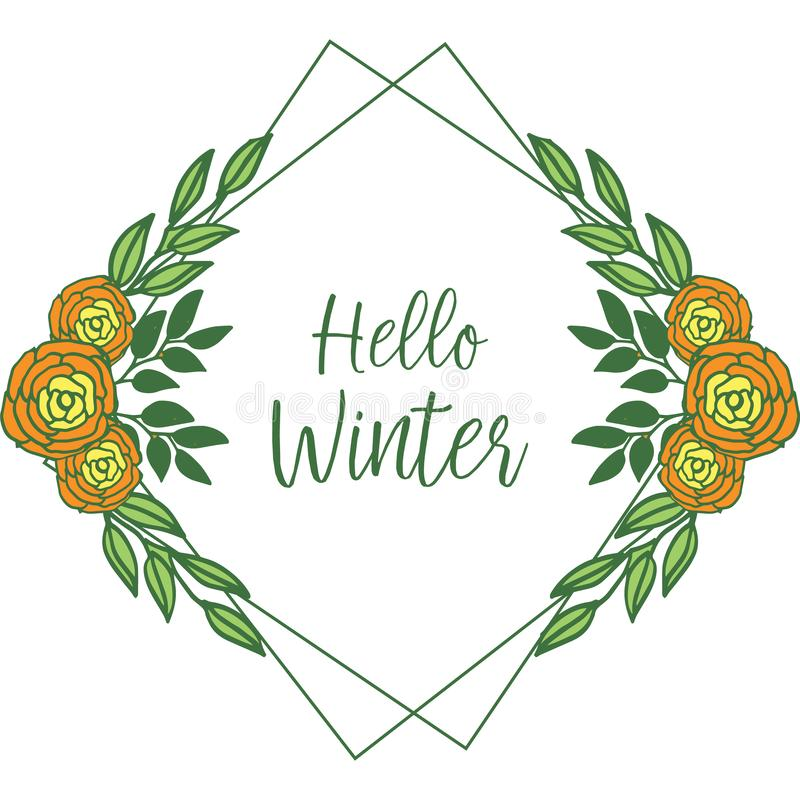 Cute colorful rose flower frame background for greeting card hello winter. Vector. Illustration stock illustration