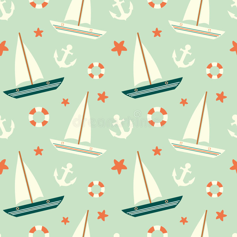 Cute colorful sailboat seamless pattern with anchor and lifebuoy background illustration stock illustration