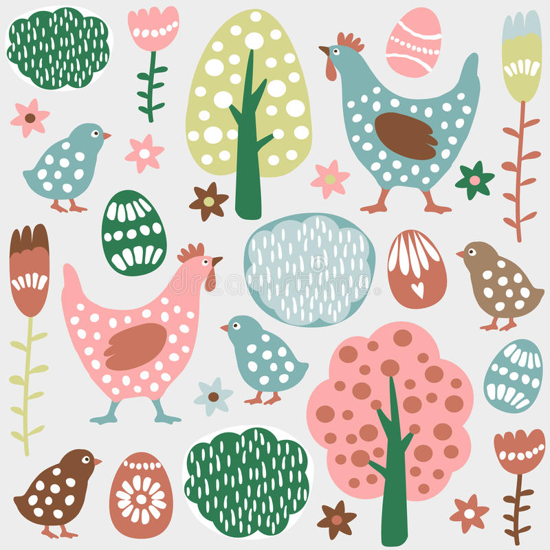 Cute colorful seamless easter spring pattern, eggs, hens royalty free illustration