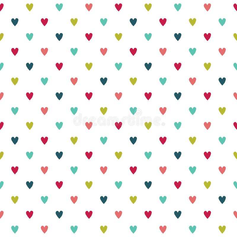 Cute colorful seamless holiday hearts background stock illustration
