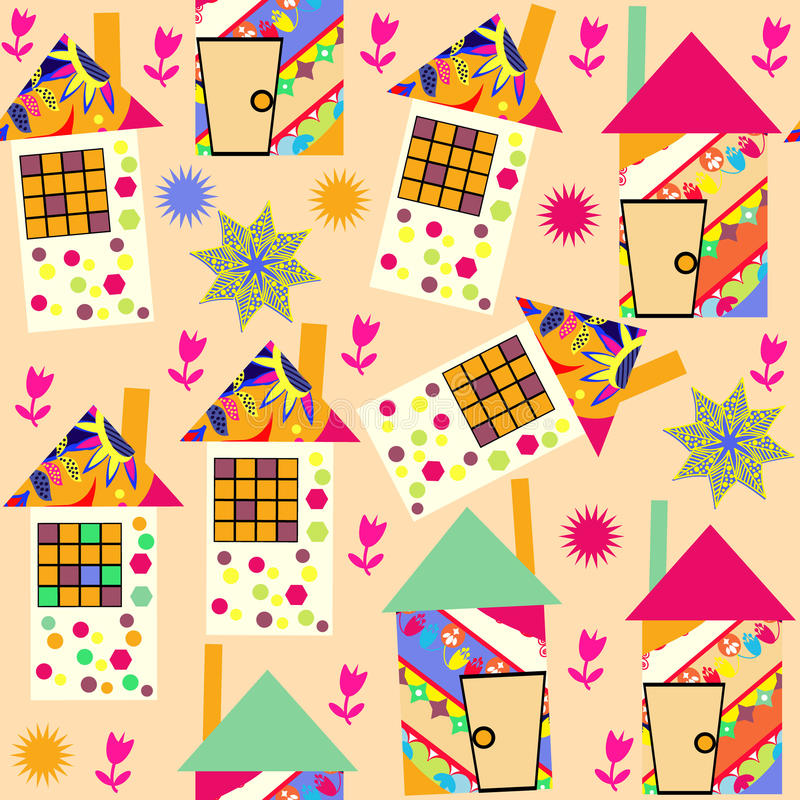 Cute colorful seamless pattern with abstract colorful houses and and seamless pattern in swatch menu, picture. Adorable b stock illustration