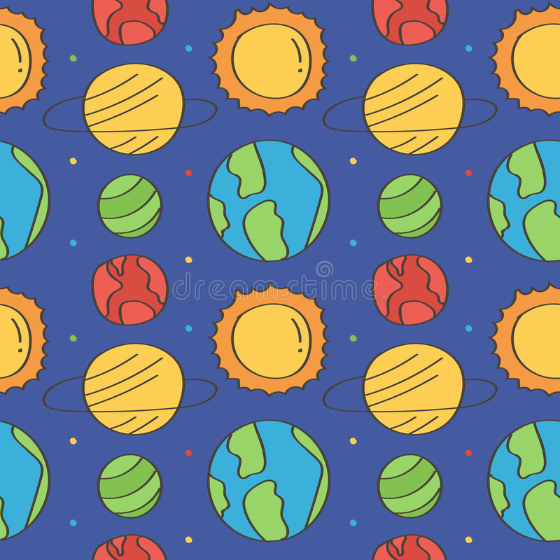 Cute and colorful space doodles seamless pattern background with stars and planets vector illustration