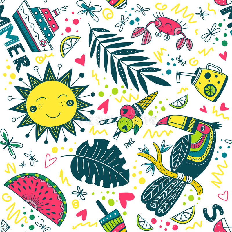 Cute colorful summer tropical pattern vector illustration