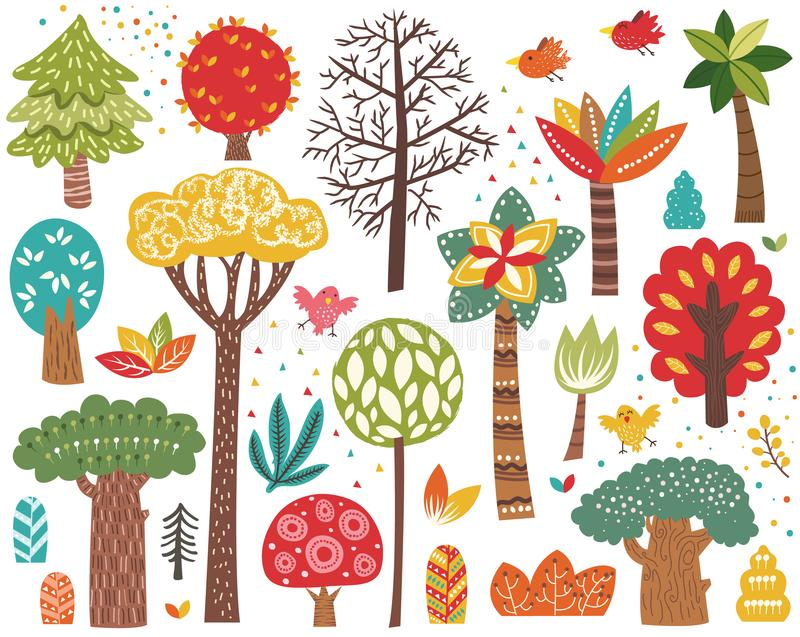 Cute Colorful Tree Elements Set royalty free illustration