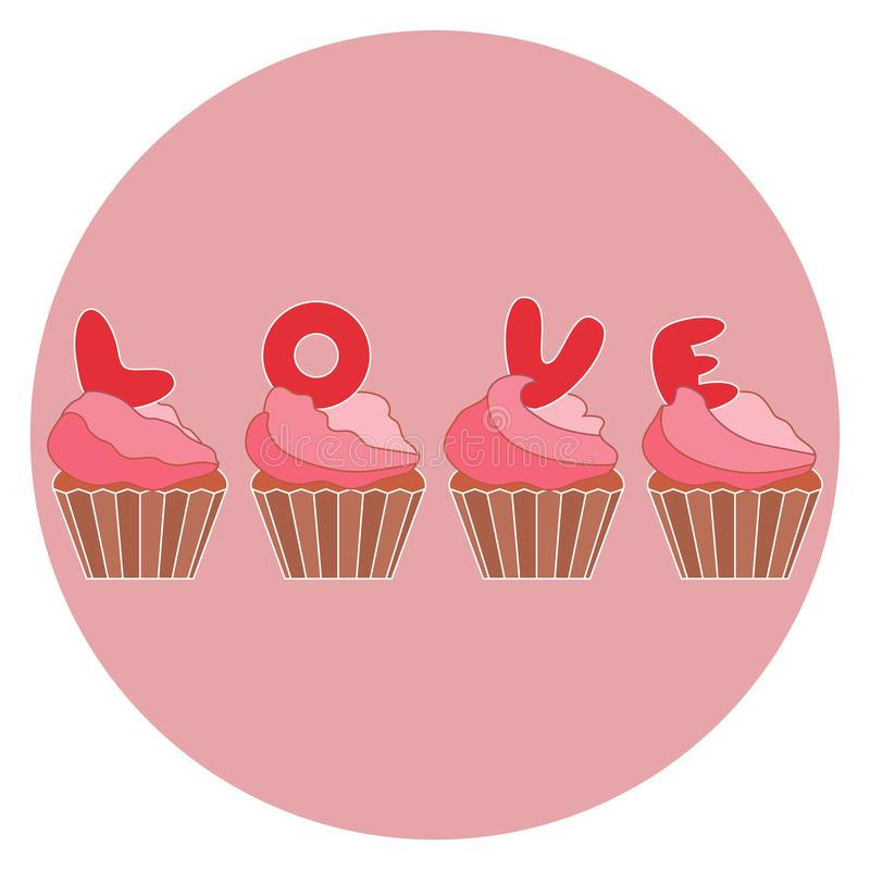 Cute Colorful Vector Illustration Of Love Symbols Cupcakes With