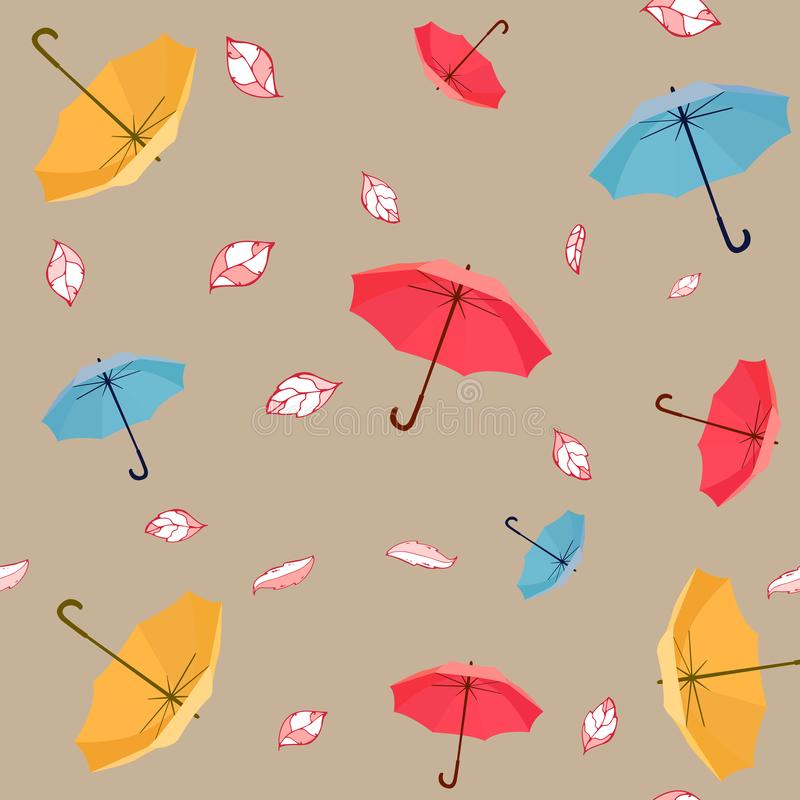 Cute and colorful vector umbrella seamless pattern with leaves for kids clothing and paper products.  vector illustration