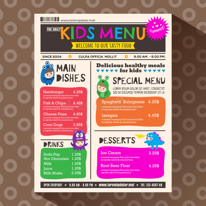 Cute colorful vibrant kids menu template in newspaper style vector illustration