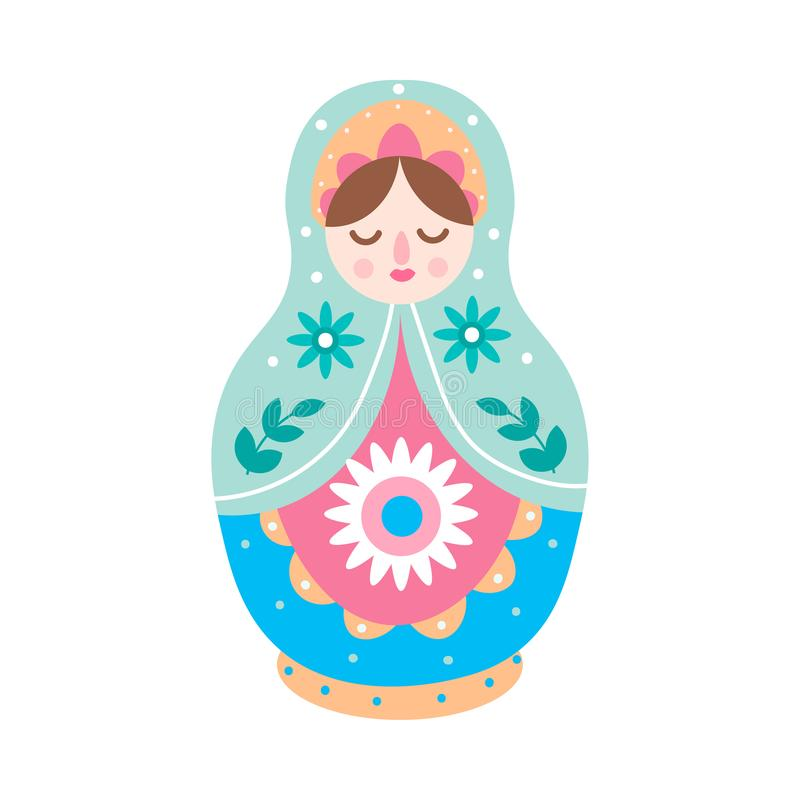 Cute colorful wood nesting doll, russian toy royalty free illustration