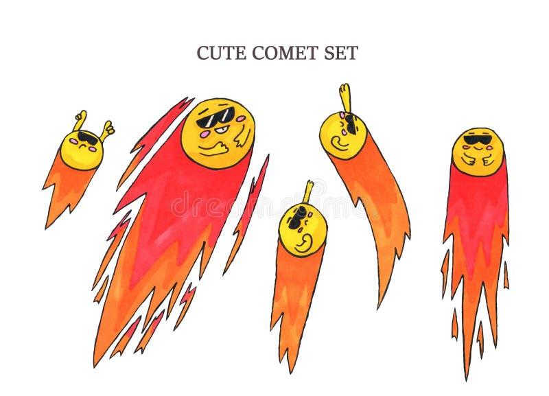 Cute comet set. Marker art for. Stikers, print. design or web. Kids illustration royalty free illustration
