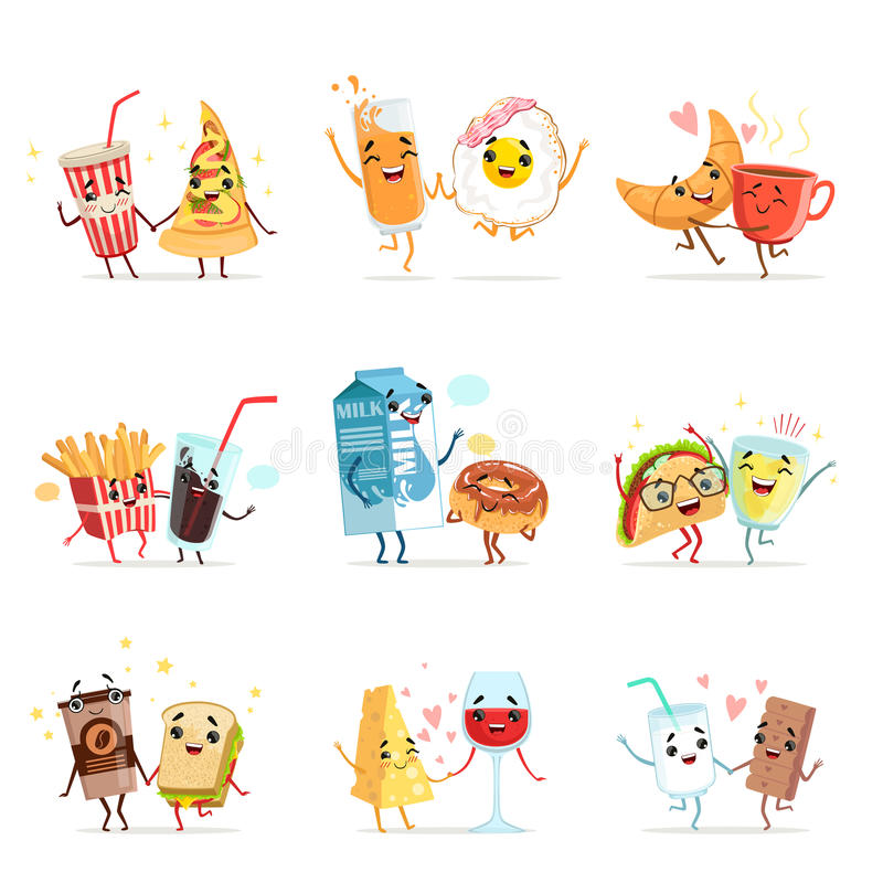 Cute comic food cartoon characters, best friends vector Illustrations stock illustration