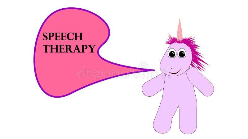 Cute comic unicorn saying speech therapy royalty free illustration