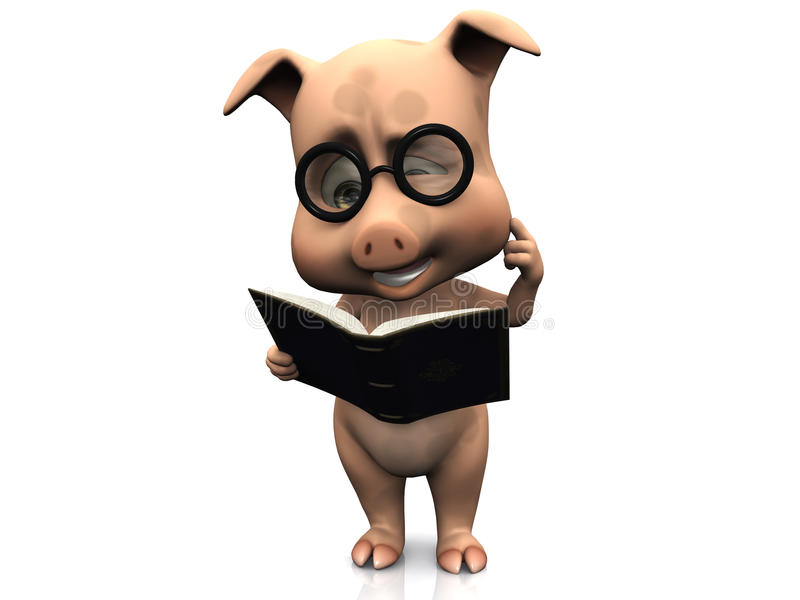 Download Cute Confused Cartoon Pig Holding A Book. Stock Illustration - Image: 14185671