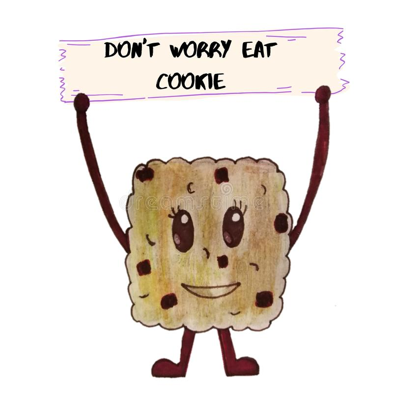 Cute cookie handdrawn with positive quote. Brown. royalty free stock photo