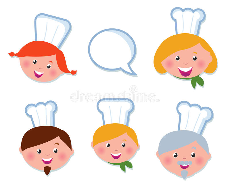 Cute cooking and icons set - chef family stock illustration