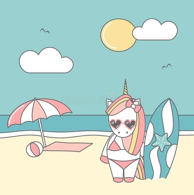 Cute cool cartoon unicorn surfer on the beach funny summer vector illustration stock illustration