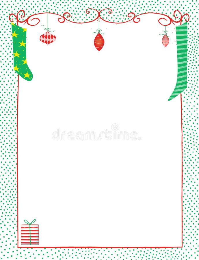 Christmas Frame of Whimsical Ornaments and Stockings. Cute copy space with frame of whimsical ornaments and Christmas stockings stock illustration