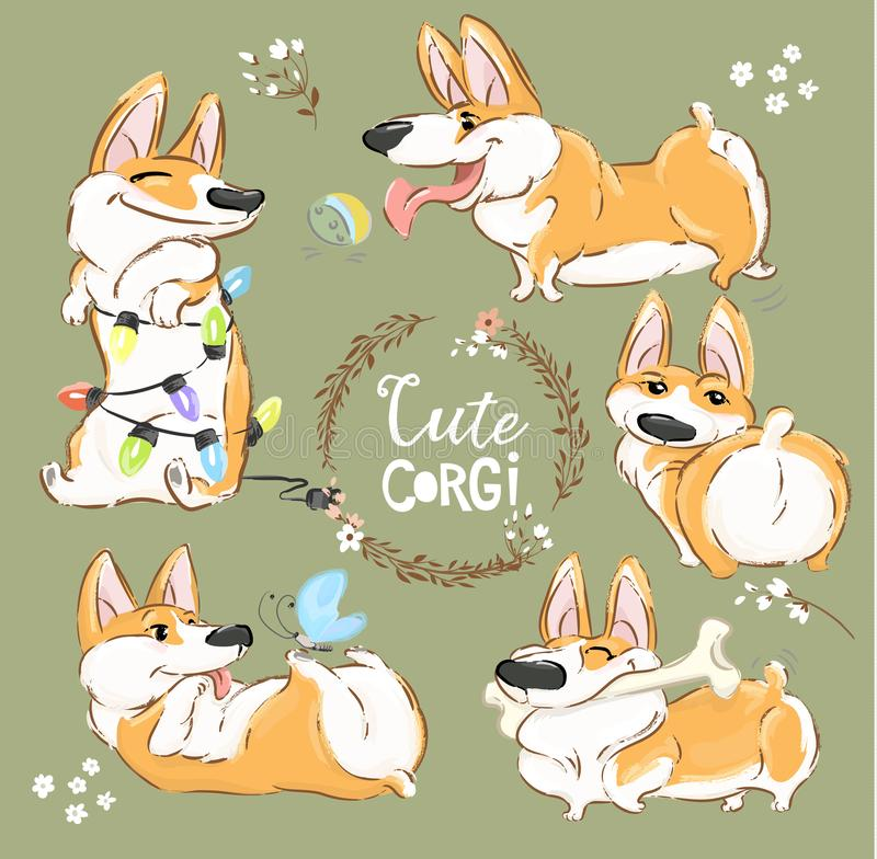 Cute Corgi Dog Character Cartoon Vector Set. Funny Short Fox Pet Group Smile, Play with Ball and Bone. Cheerful Happy. Orange Puppy Flat Cartoon Collection for royalty free illustration