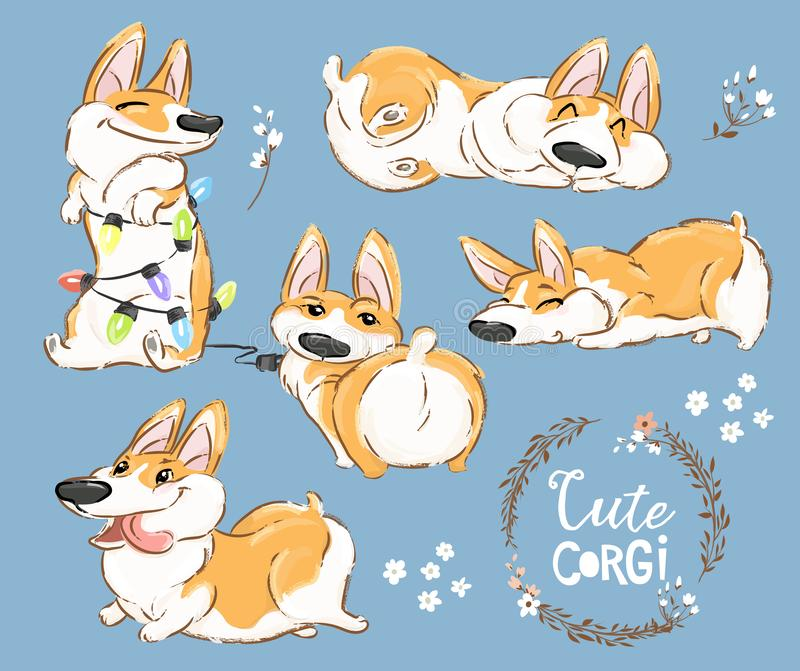 Cute Corgi Dog Puppy Play Vector Set. Funny Fox Pet Character Collection. Awesome Happy Brown Doggy Isolated on Blue. Background Flat Cartoon Print Poster stock illustration