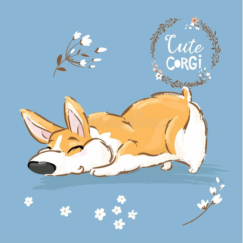 Cute Corgi Dog Puppy Sniff Vector Illustration. Funny Fox Pet Character Flower Poster. Awesome Happy Brown Doggy Series. Isolated on Blue Background Flat vector illustration