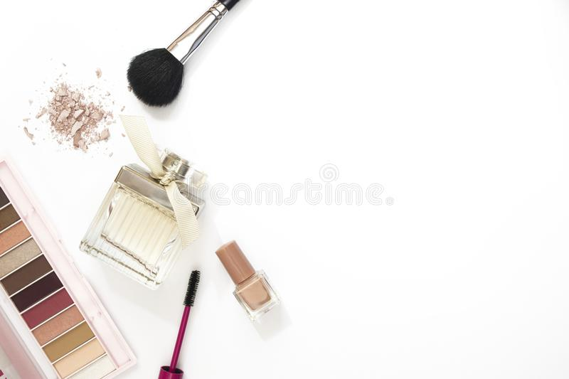 Colorful makeup layout white background stock image