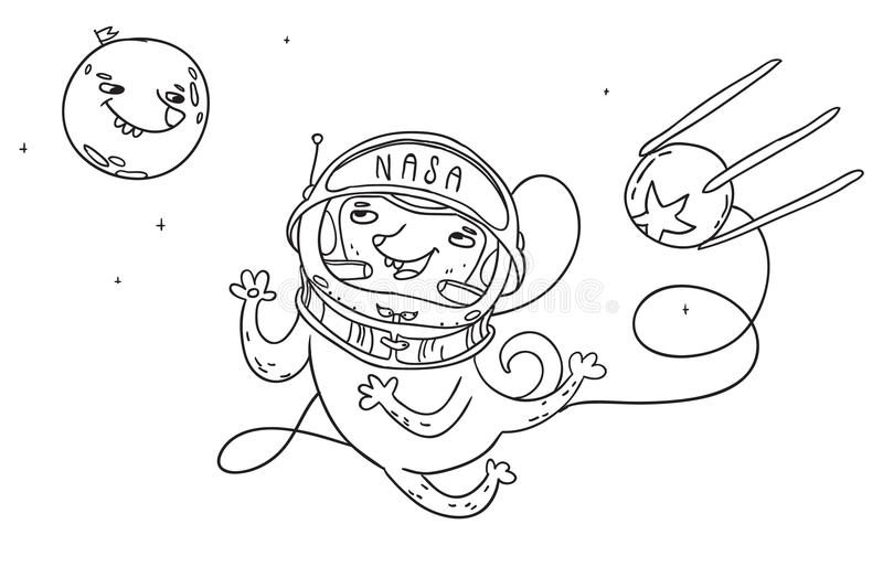 Cute cosmonaut dog in open space talking to dog moon. Funny vector illustration vector illustration