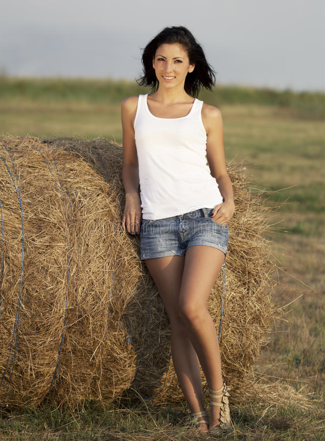 Download Cute country girl stock image. Image of background, agriculture - 25885099