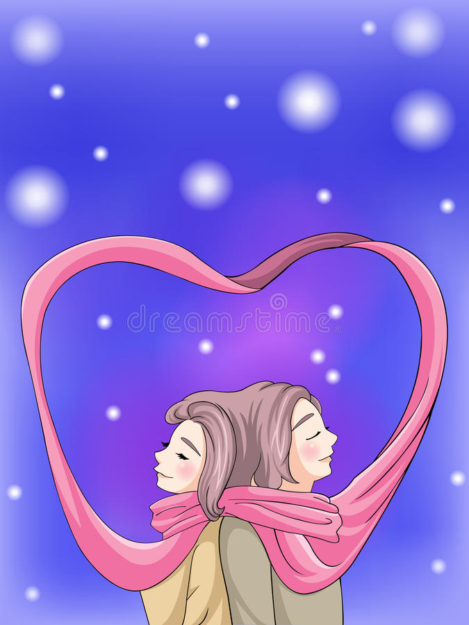 Cute couple bonding in winter scene. With their scarf, create by vector vector illustration
