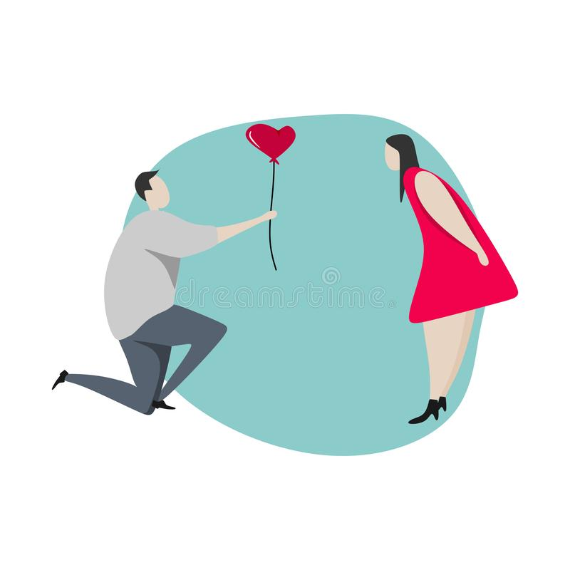 Cute couple cartoon vector illustration valentine and love theme. Romantic figures of happy boy and girl with trendy colors stock illustration