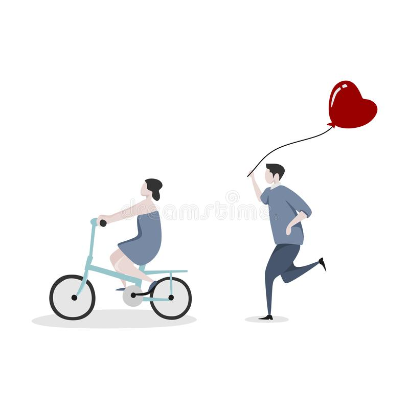 Cute couple character with a man running to catch a girl to give a heart balloon. The girl is riding a bicycle. Concept of royalty free illustration