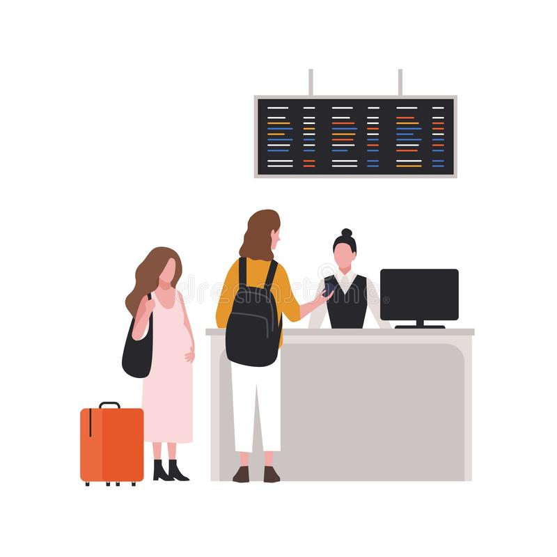 Cute couple at check-in desk or passport control. Pair of tourists with luggage at airport terminal. Family with baggage royalty free illustration