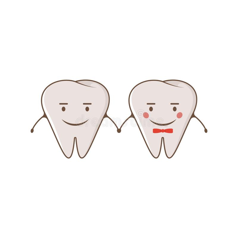 Cute couple cheerful teeth. Vector modern flat style cartoon character illustration. Clear tooth kid children christmas concept de vector illustration