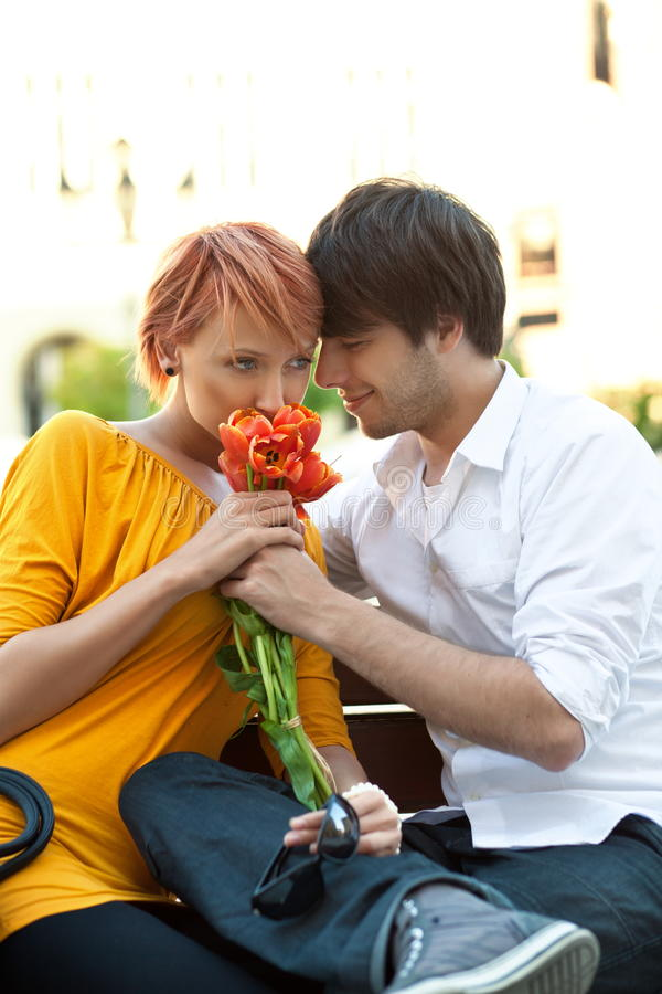 Download Cute couple on date stock photo. Image of buildings, beauty - 19563458