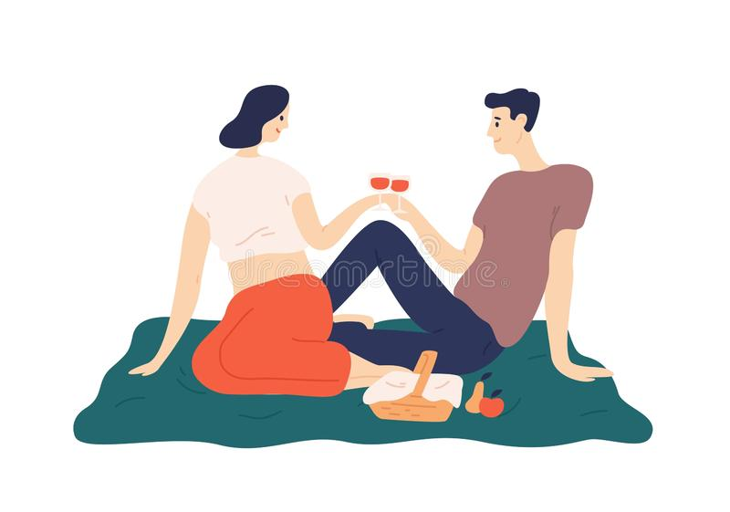 Cute couple drinking wine during romantic date outdoors. Portrait of boyfriend and girlfriend enjoying food at picnic. Man and and woman celebrating royalty free illustration