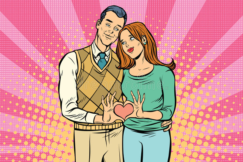 Cute couple, hand gesture a heart of love stock illustration