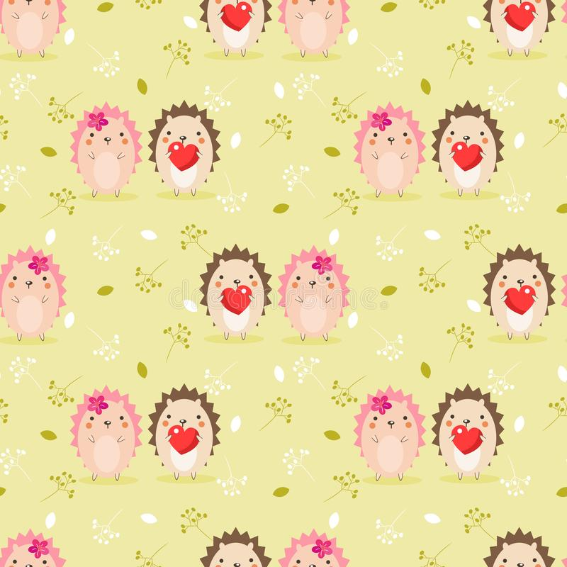Cute couple hedgehog in Valentine seamless pattern stock illustration