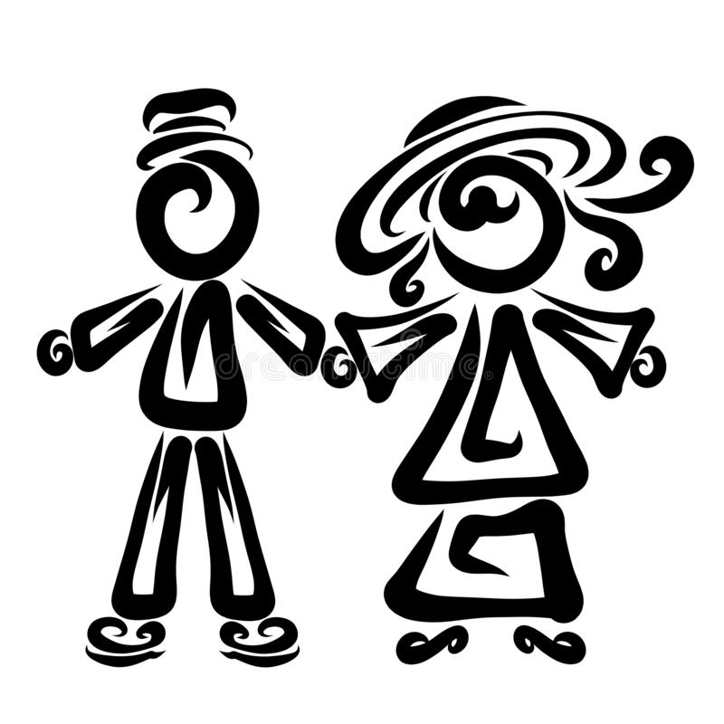 Cute couple holding hands, lady and gentleman, creative pattern stock illustration