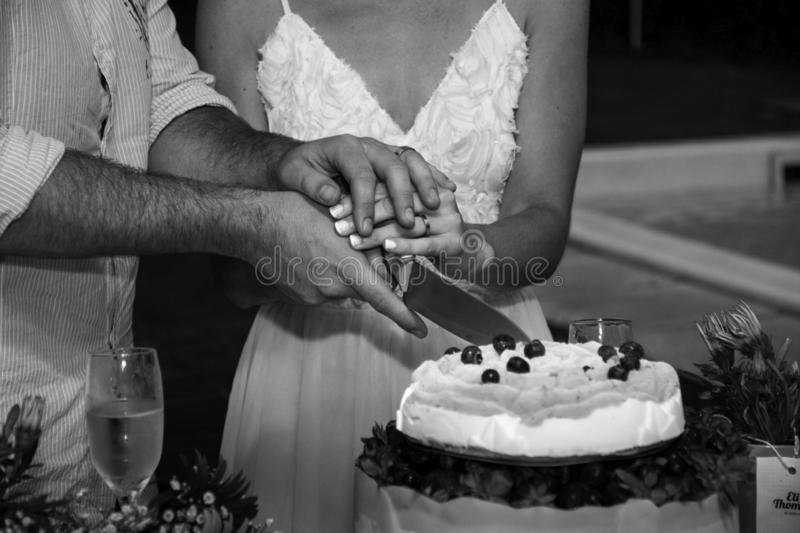 Cute couple in love celebrating their wedding stock photo