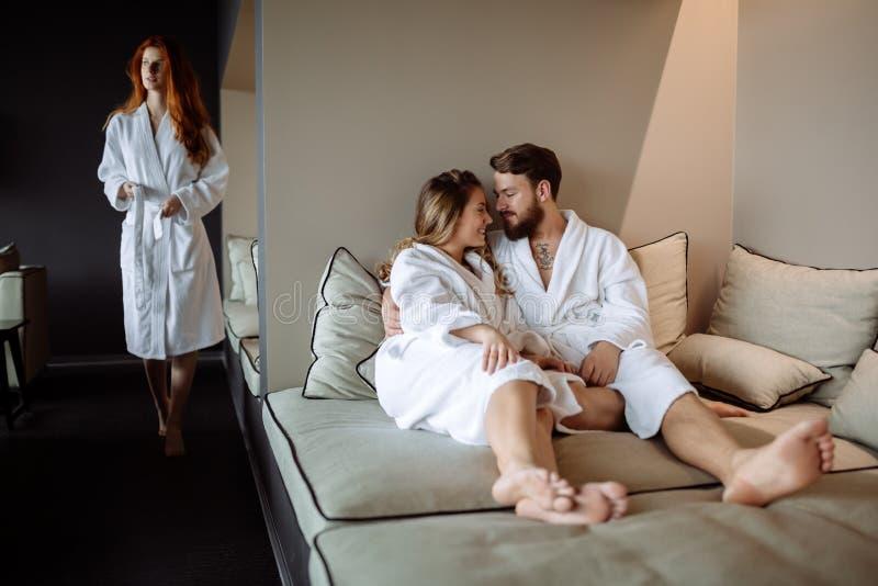 Couple enjoying wellness weekend. Cute couple in love enjoying wellness weekend stock images