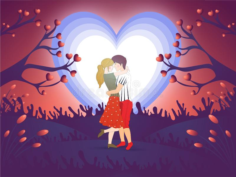 Cute couple in love full moon night background. Valentine`s Day concept vector illustration