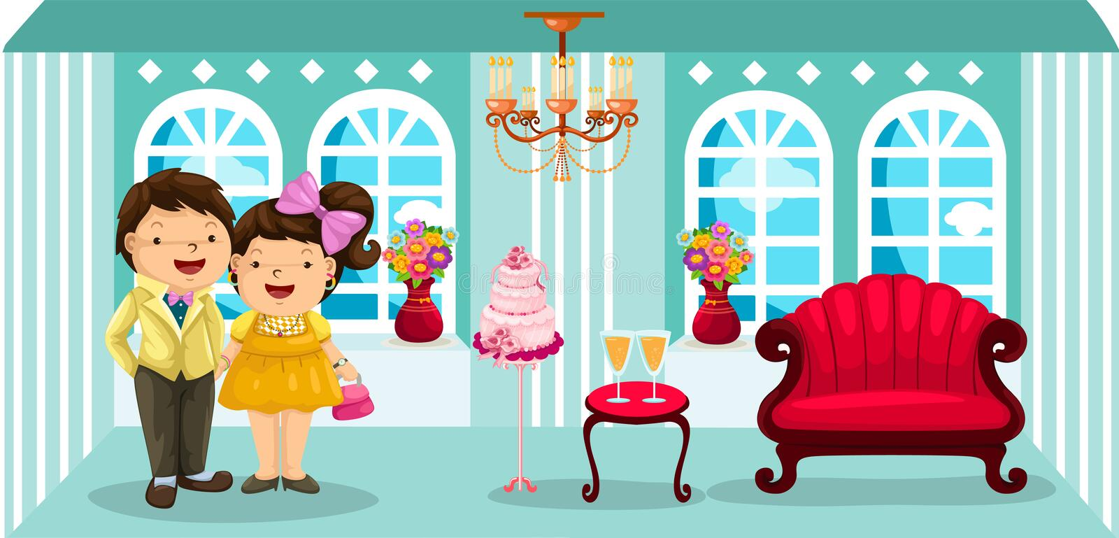 Cute couple in party room. Illustration of cute couple in party room vector illustration