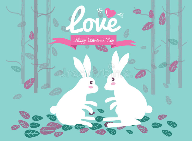 Cute couple rabbits in the forest. royalty free illustration