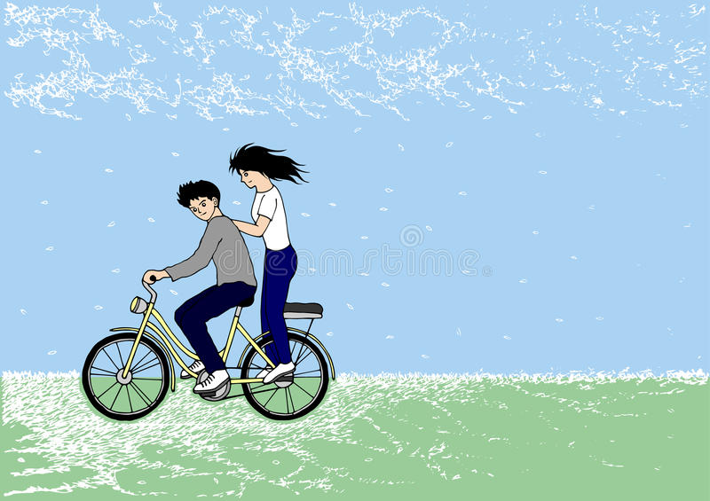 Cute couple riding bicycle in the park, hand drawn, vector royalty free illustration