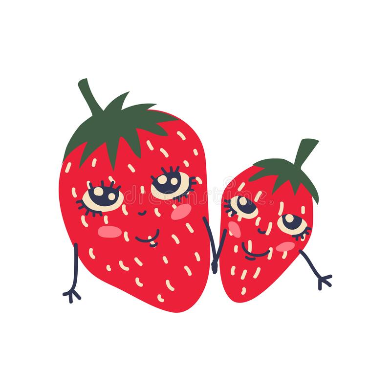 Cute Couple of Ripe Strawberries with Smiling Faces, Adorable Funny Fruits Cartoon Characters Vector Illustration stock illustration