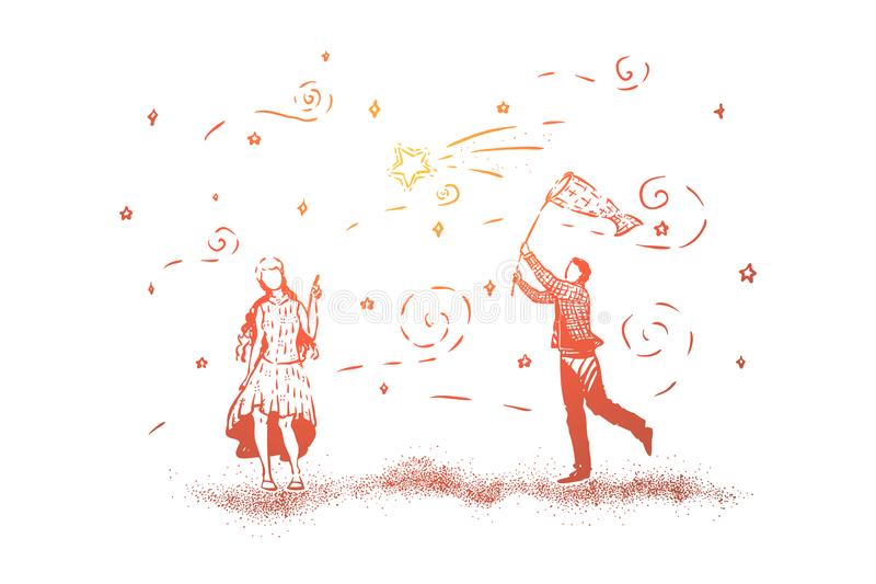 Cute couple standing together, man catching stars with net, true romantic love artwork, girl pointing at star with her finger royalty free illustration