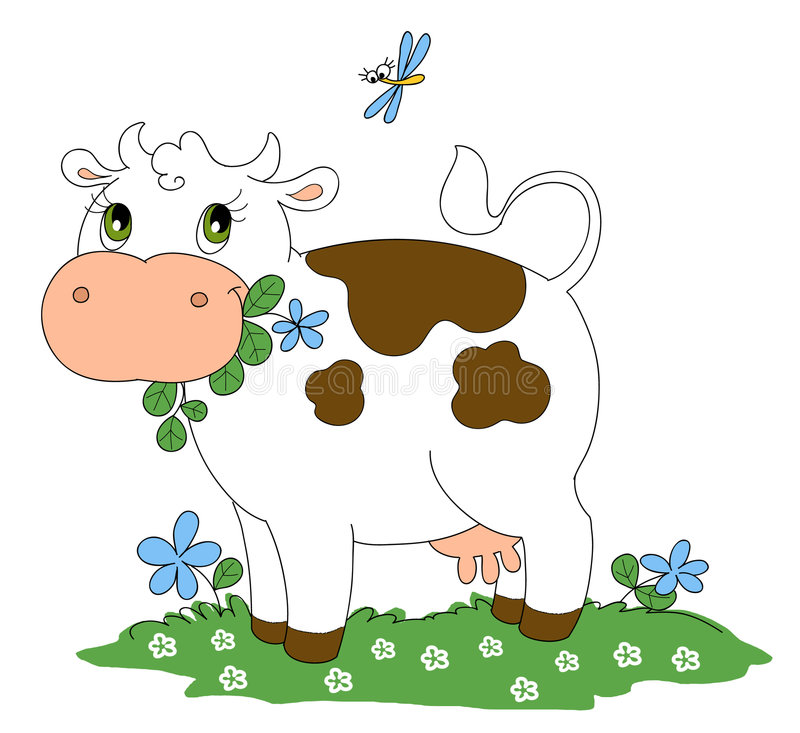 Cute cow. Cute cartoon cow chewing flowers. Digital illustration isolated on white background royalty free illustration