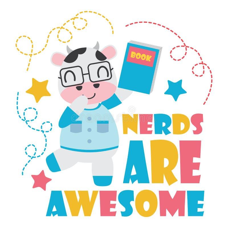 Cute cow as nerd boy cartoon illustration for Kid t-shirt background design stock illustration