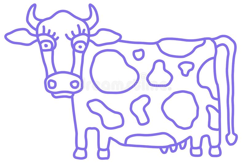Cute cow caricature with flower side view. Cartoon style, monochrome simple sketch. Vector royalty free illustration