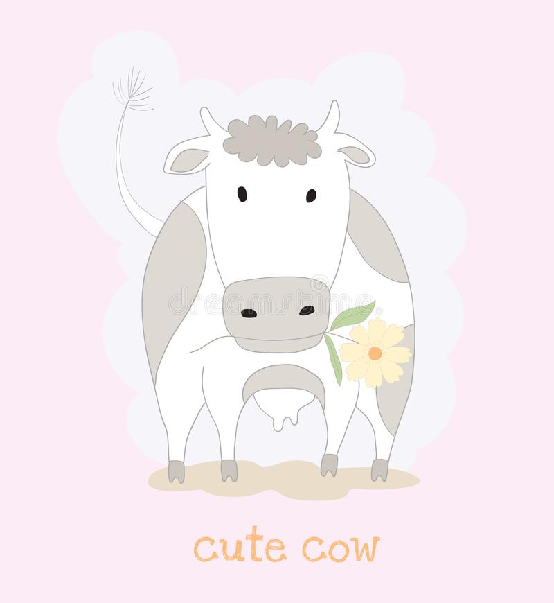 Cute cow cartoon with flower. Hand drawn style.  vector illustration